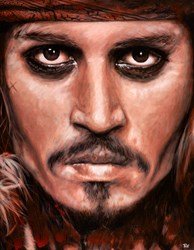 Johnny Depp - Captain Jack Sparrow by Pete Humphreys - Original Painting on Stretched Canvas sized 28x36 inches. Available from Whitewall Galleries